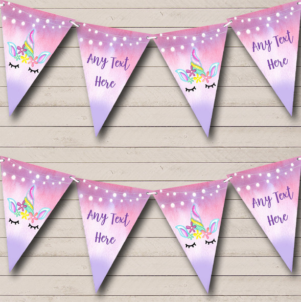 Unicorn Pink Purple Personalised Childrens Party Bunting