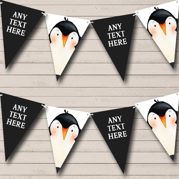 Watercolour Animal Penguin Personalised Childrens Party Bunting