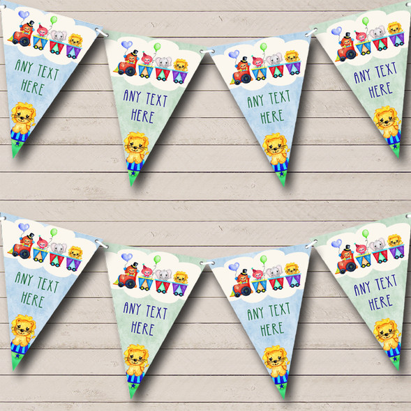 Watercolour Circus Animals Personalised Baby Shower Bunting