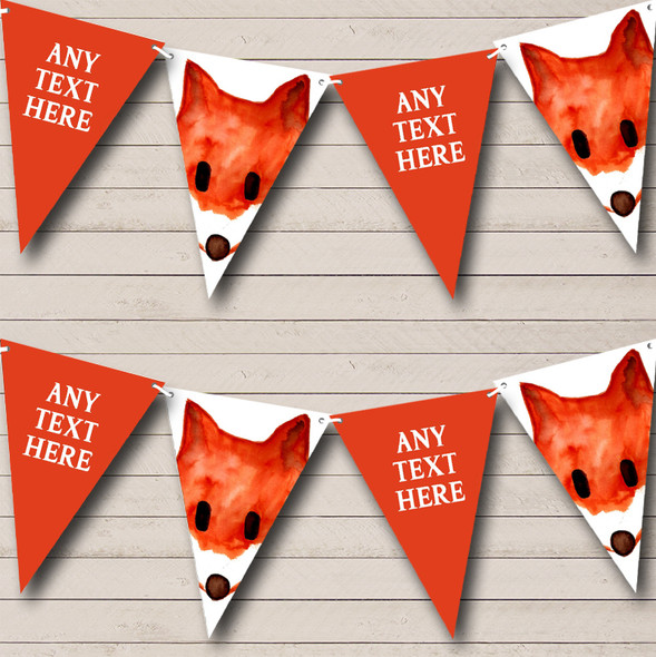 Watercolour Fox Animal Personalised Childrens Party Bunting