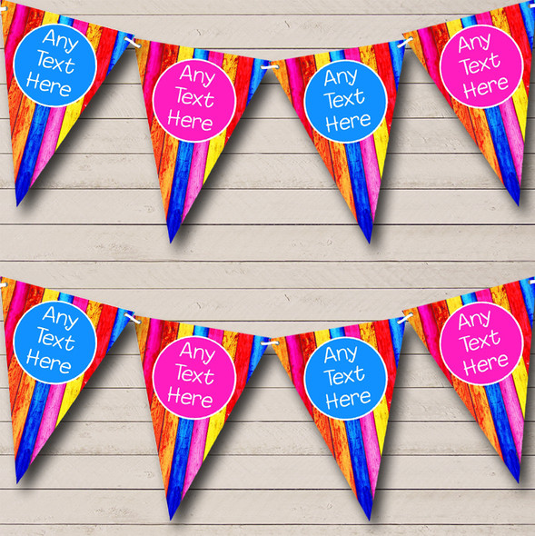 Wood Rainbow Colours Personalised Baby Shower Bunting