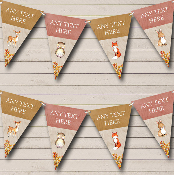 Woodland Animals Fox Owl Deer Rabbit Personalised Childrens Party Bunting