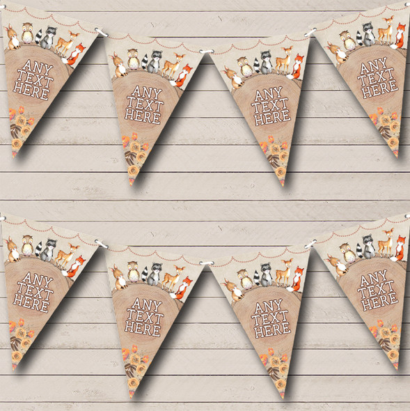 Woodland Baby Forest Animals Fox Personalised Childrens Party Bunting