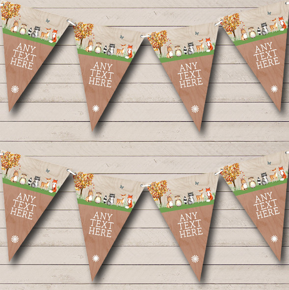 Woodland Forest Animals Fox Personalised Baby Shower Bunting