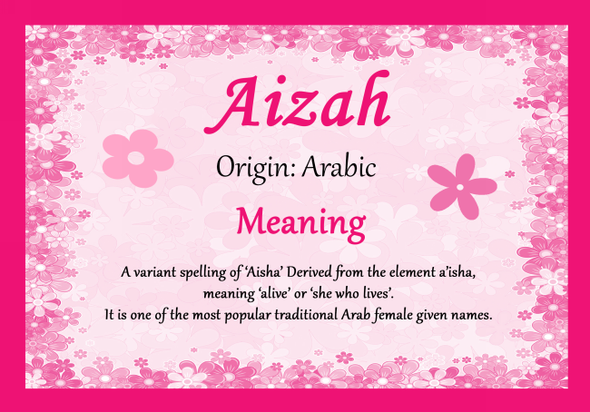 Aizah Personalised Name Meaning Certificate