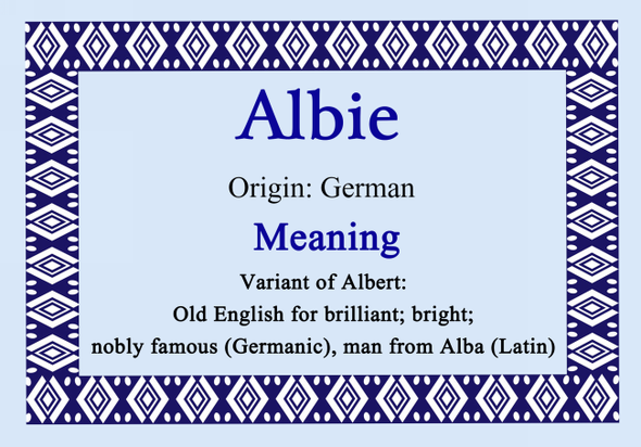 Albie Personalised Name Meaning Certificate
