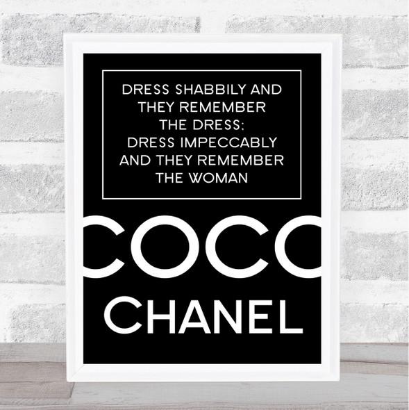 Black Coco Chanel Dress Impeccably Quote Wall Art Print