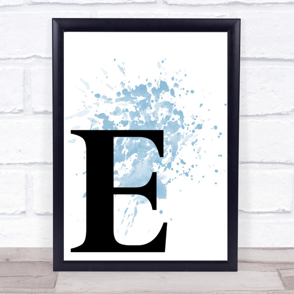 Blue Initial Letter E Quote Wall Art Print