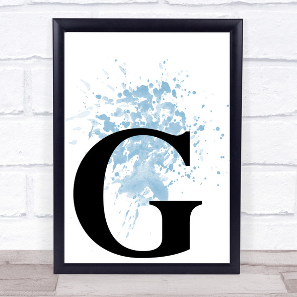 Blue Initial Letter G Quote Wall Art Print