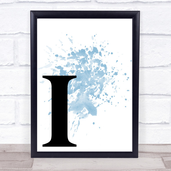 Blue Initial Letter I Quote Wall Art Print