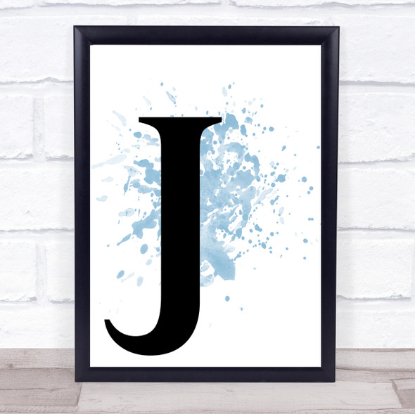Blue Initial Letter J Quote Wall Art Print