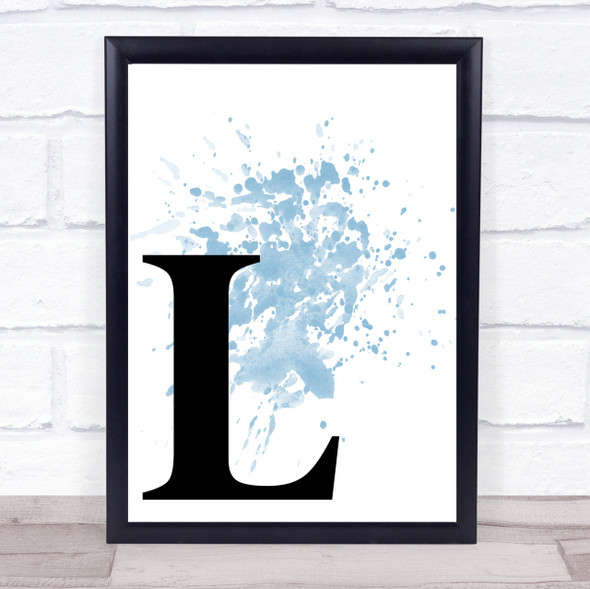 Blue Initial Letter L Quote Wall Art Print