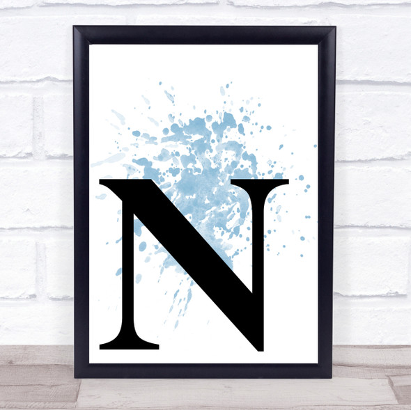 Blue Initial Letter N Quote Wall Art Print