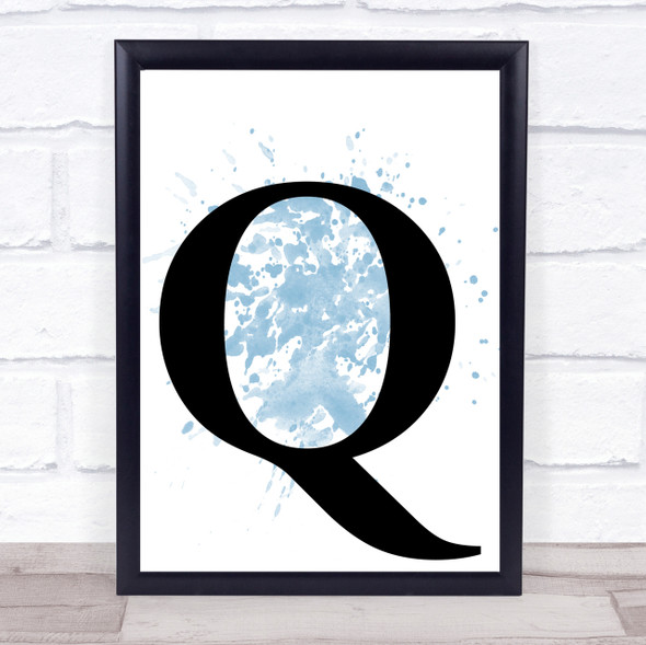 Blue Initial Letter Q Quote Wall Art Print