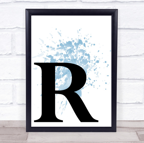 Blue Initial Letter R Quote Wall Art Print
