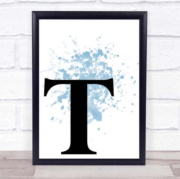 Blue Initial Letter T Quote Wall Art Print