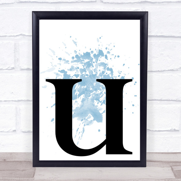 Blue Initial Letter U Quote Wall Art Print
