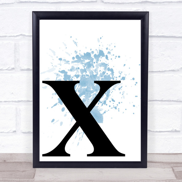 Blue Initial Letter X Quote Wall Art Print