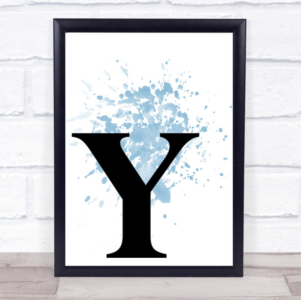 Blue Initial Letter Y Quote Wall Art Print