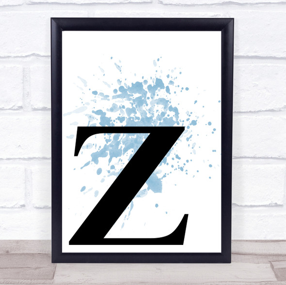 Blue Initial Letter Z Quote Wall Art Print