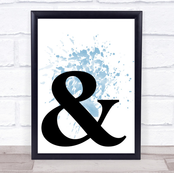Blue Ampersand Corner & And Quote Wall Art Print