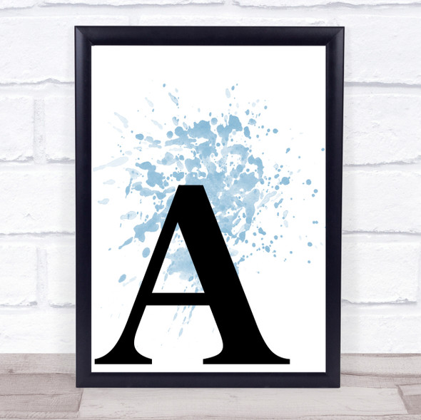 Blue Initial Letter A Quote Wall Art Print
