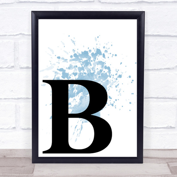 Blue Initial Letter B Quote Wall Art Print