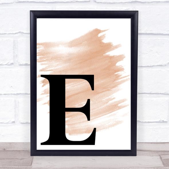 Watercolour Initial Letter E Quote Print