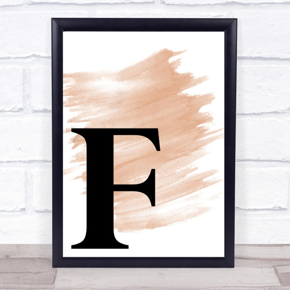 Watercolour Initial Letter F Quote Print