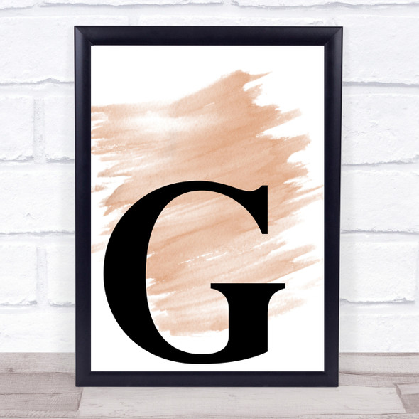 Watercolour Initial Letter G Quote Print