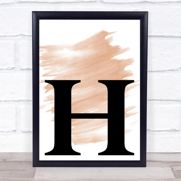 Watercolour Initial Letter H Quote Print