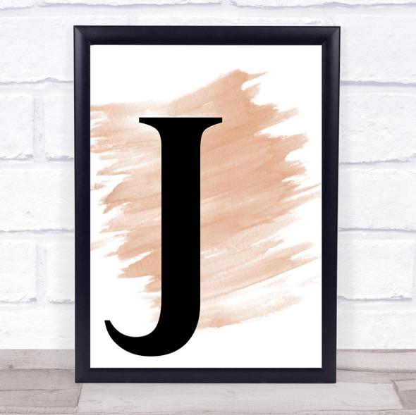 Watercolour Initial Letter J Quote Print