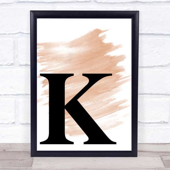 Watercolour Initial Letter K Quote Print