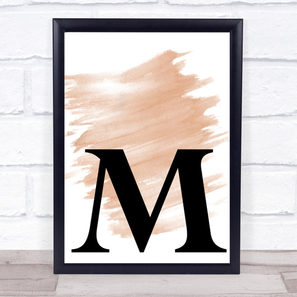 Watercolour Initial Letter M Quote Print