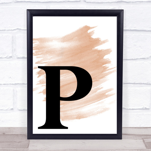 Watercolour Initial Letter P Quote Print