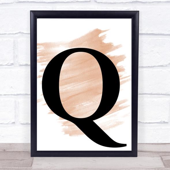 Watercolour Initial Letter Q Quote Print