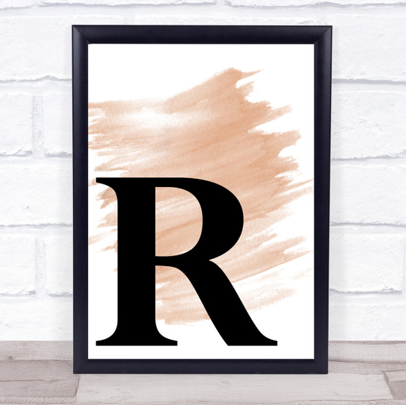 Watercolour Initial Letter R Quote Print
