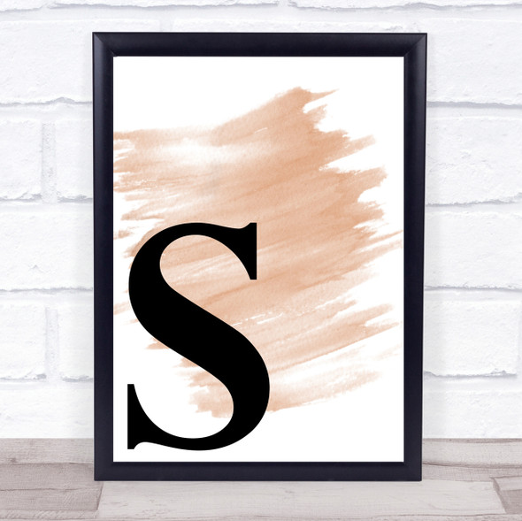 Watercolour Initial Letter S Quote Print