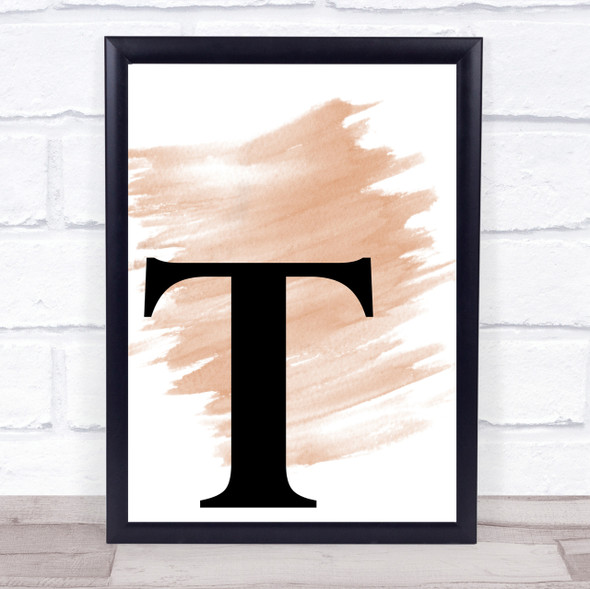 Watercolour Initial Letter T Quote Print