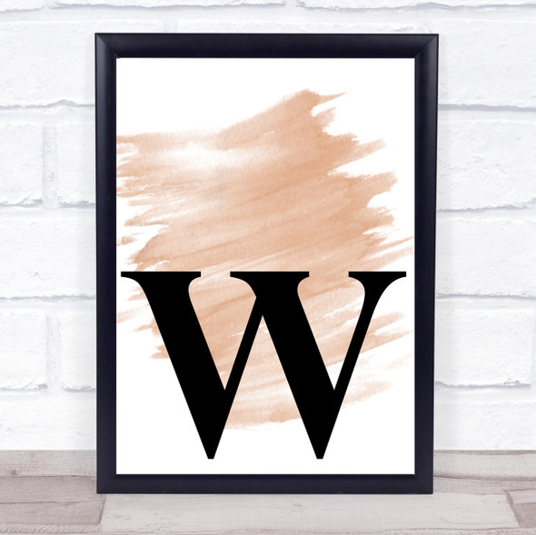 Watercolour Initial Letter W Quote Print
