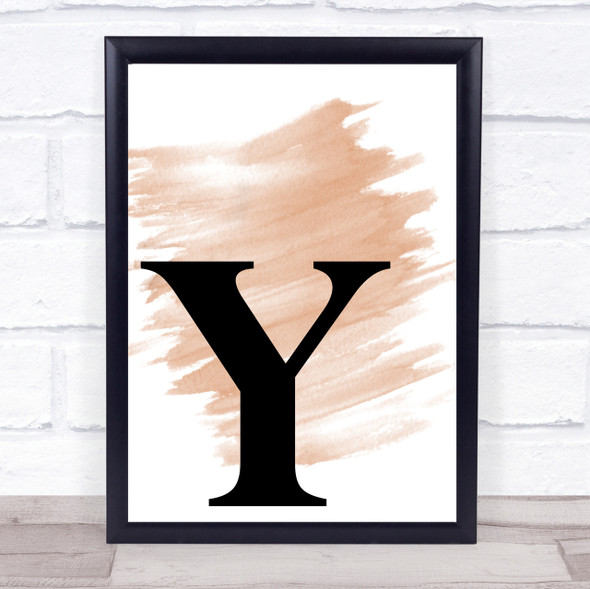 Watercolour Initial Letter Y Quote Print