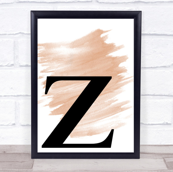 Watercolour Initial Letter Z Quote Print