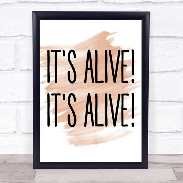 Watercolour It's Alive! It's Alive! Frankenstein Quote Print