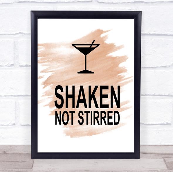 Watercolour James Bond Martini Shaken Not Stirred Quote Print