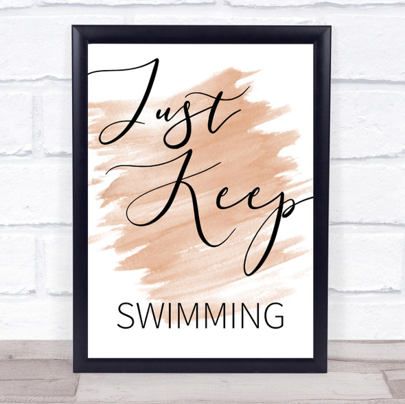 Watercolour Just Keep Swimming Finding Nemo Quote Print