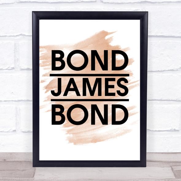 Watercolour Bond James Bond Movie Quote Print