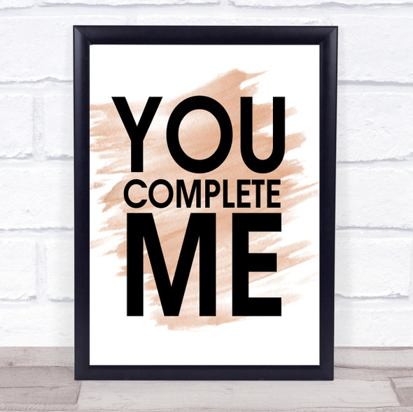 Watercolour You Complete Me Jerry Maguire Quote Print