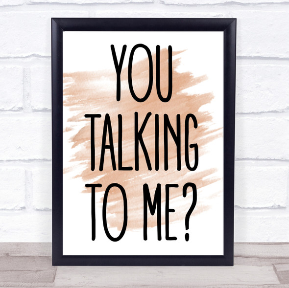 Watercolour You Talking To Me Taxi Driver Movie Quote Print