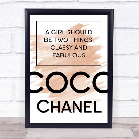 Watercolour Coco Chanel Classy & Fabulous Quote Print