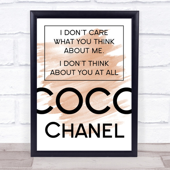 Watercolour Coco Chanel Don't Care What You Think About Me Quote Print